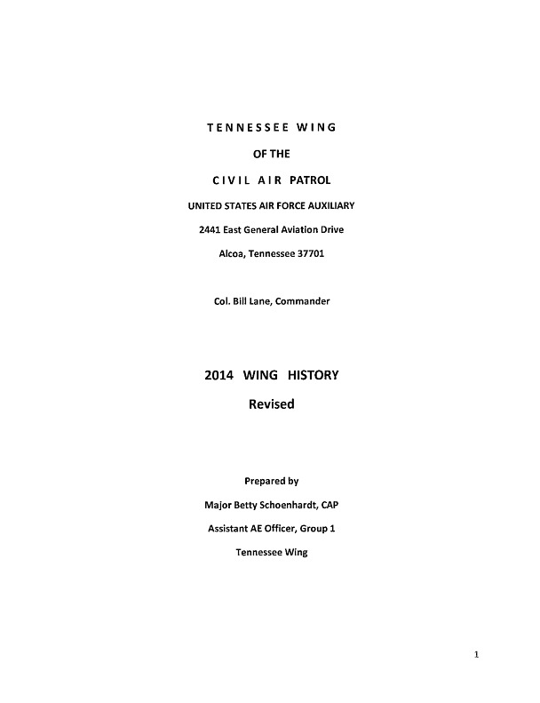 2014 Tennessee Wing History