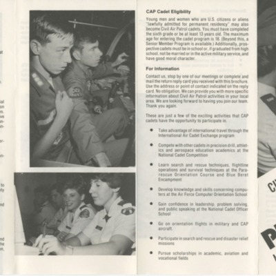 Civil Air Patrol Cadet Program Brochure - 1980s