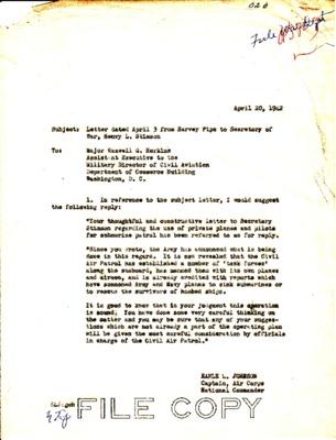 Earle Johnson to Maxwell Horkins - Coastal Patrol press - 20 April 1942.pdf