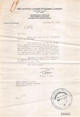 CAP Correspondence [Received]--Beck, Thomas H.--16SEP1942.pdf