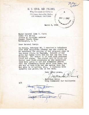 Bertrand Rhine to John Curry - Coastal Patrol and Jackie Cochran - 6 March 1942.pdf