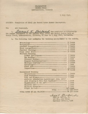 1945 Summer Encampment Completion Form