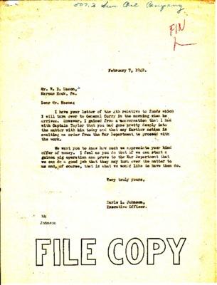 Earle Johnson to William D. Mason - Sun Oil funds - 4 February 1942.pdf