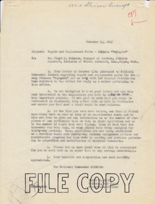Harry Blee to Floyd O. Johnson - Stinson parts - 24 October 1942.pdf
