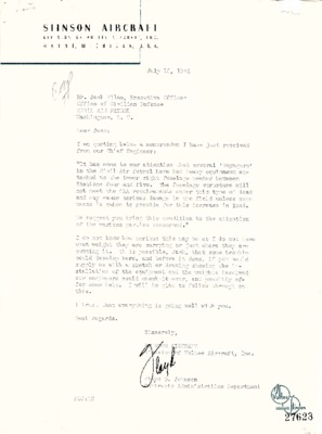 Floyd O. Johnson to Jack Vilas - Stinson Voyager Bomb Racks - 15 July 1942.pdf