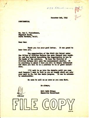 Max C. Fleischmann to Gill Robb Wilson - Use of Aircraft - 17 November 1941.pdf