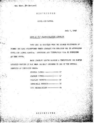 Civil Air Patrol National Headquarters - A List Classification Aircraft - 7 July 1943.pdf