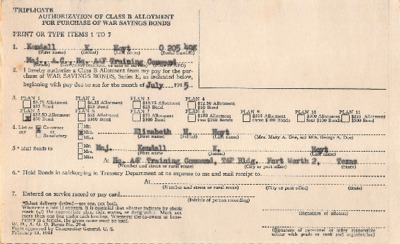Personnel File--Authorization of Class B Allotment for Purchase of War Savings Bonds--JUL1945.pdf