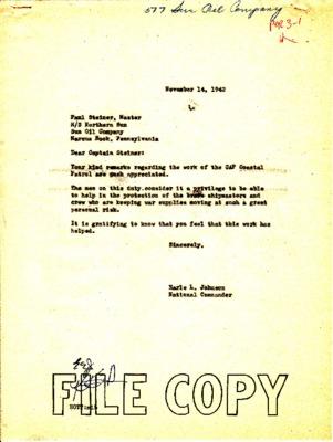Paul Steiner to Earle Johnson - Tanker Thank You - 10 November 1942.pdf