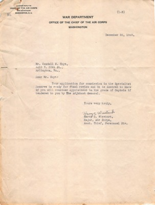 Personnel File (Kendall King Hoyt Papers)