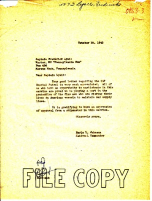 Frederick Lyall to Earle Johnson - Tanker Thank You - 27 October 1942.pdf