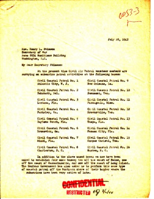 Earle Johnson to Henry L. Stimson - Coastal Patrol and Selective Service - 28 July 1942.pdf
